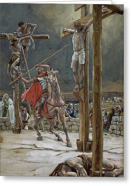 Christian Paintings Greeting Cards - One of the Soldiers with a Spear Pierced His Side Greeting Card by Tissot