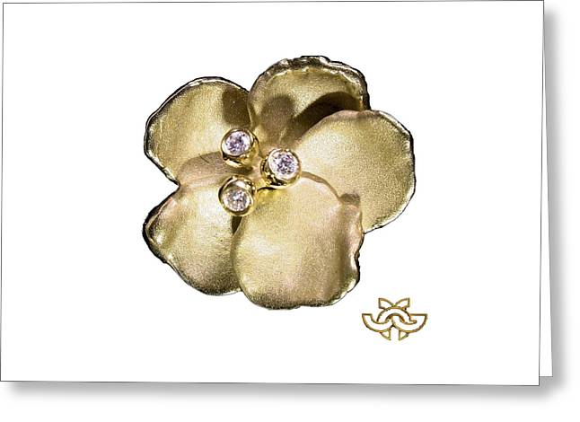 Jewellery Jewelry Greeting Cards - One Pansy Greeting Card by Jane A  Gordon