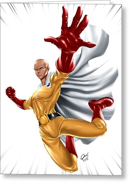 One Punch Man Greeting Card by Pete Tapang