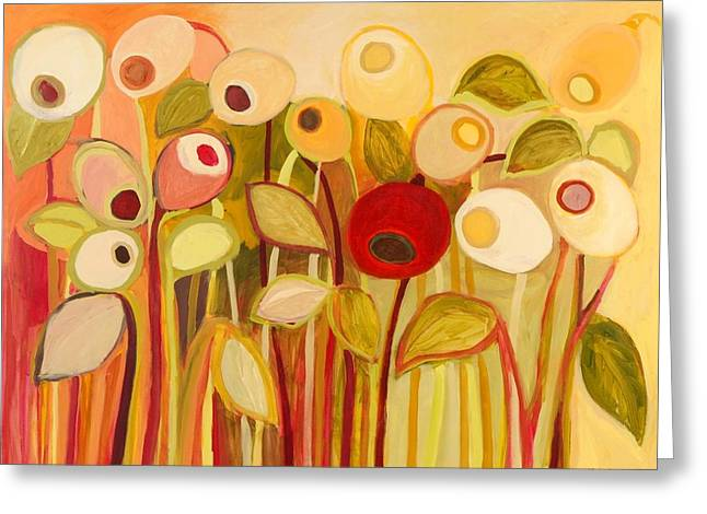 Olive Garden Greeting Cards - One Red Posie Greeting Card by Jennifer Lommers