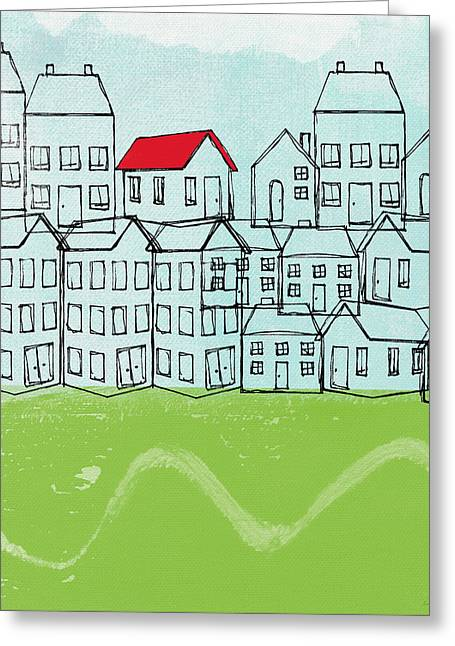 Field Mixed Media Greeting Cards - One Red Roof Greeting Card by Linda Woods