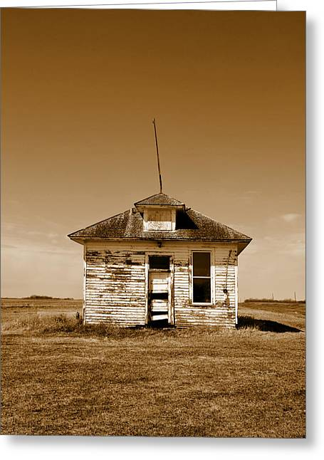 Old School House Greeting Cards - One Room Rural School Sepia Toned Greeting Card by Donald  Erickson