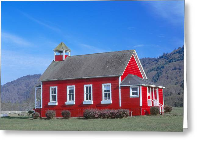 One-room Schoolhouse Along Highway 1 Greeting Card by Panoramic Images
