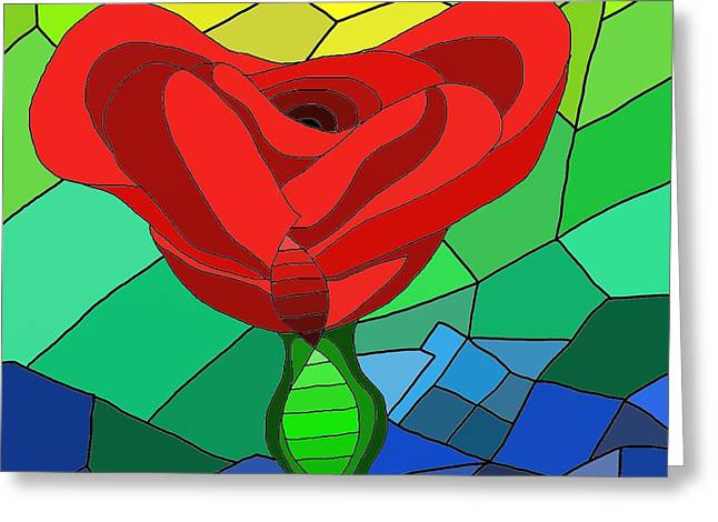 Technical Digital Art Greeting Cards - One Rose Greeting Card by Adam Norman