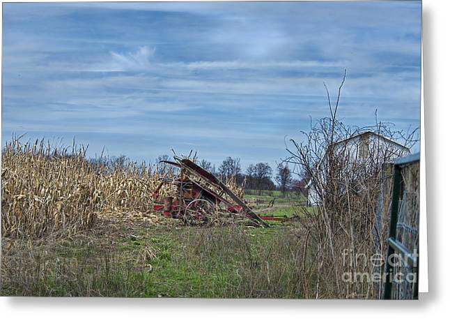 Corn Picker Greeting Cards - One Row Corn Picker Greeting Card by David Arment