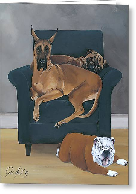 Working Dog Greeting Cards - One Size Does Not Fit All Greeting Card by Gilda Goodwin