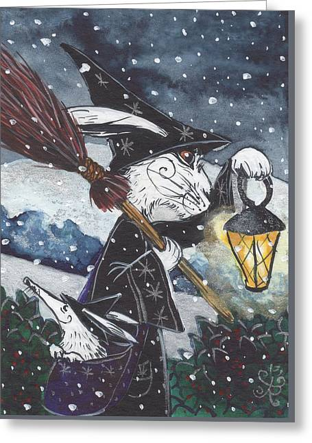 Snowy Night Night Greeting Cards - One snowy night... Greeting Card by Jacqueline Lovesey