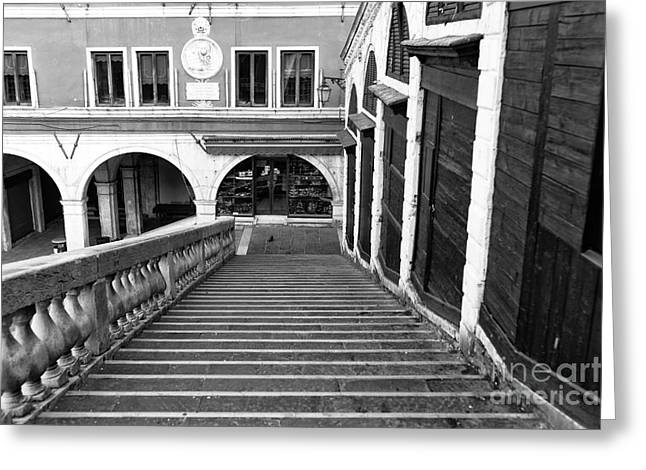 Stone Steps Greeting Cards - One Step at a Time on the Rialto Greeting Card by John Rizzuto