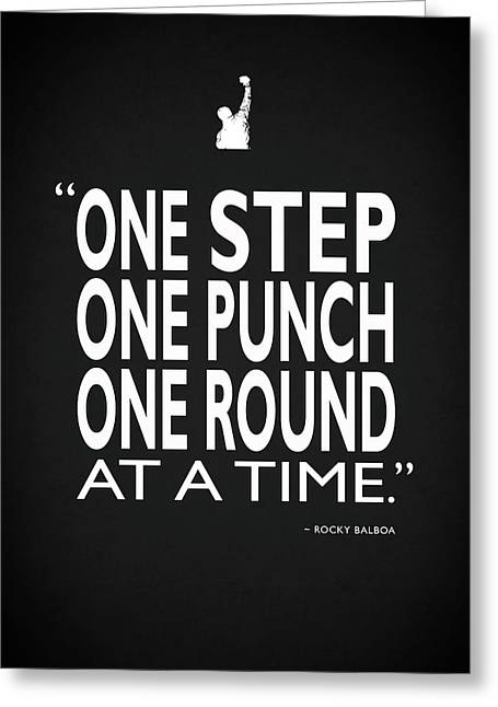One Step One Punch One Round Greeting Card by Mark Rogan