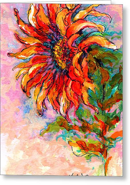 Sunflower Greeting Cards - One Sunflower Greeting Card by Marion Rose