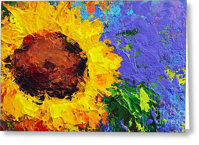 Green Abstract Greeting Cards - One Sunflower Greeting Card by Patricia Awapara
