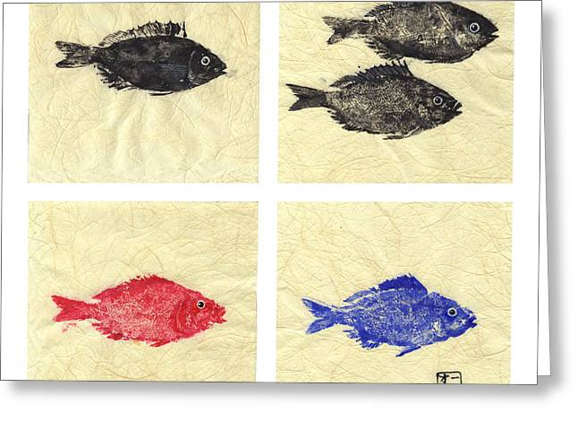Fish Rubbing Greeting Cards - One Two Red Blue Greeting Card by Odessa Kelley