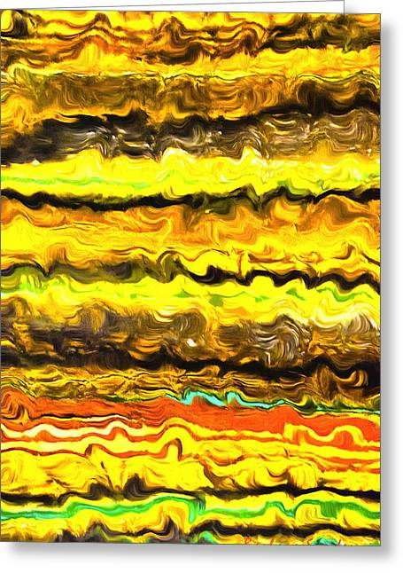 Abstract Digital Paintings Greeting Cards - One Up Abstract Panel 3 Greeting Card by Barbara Snyder