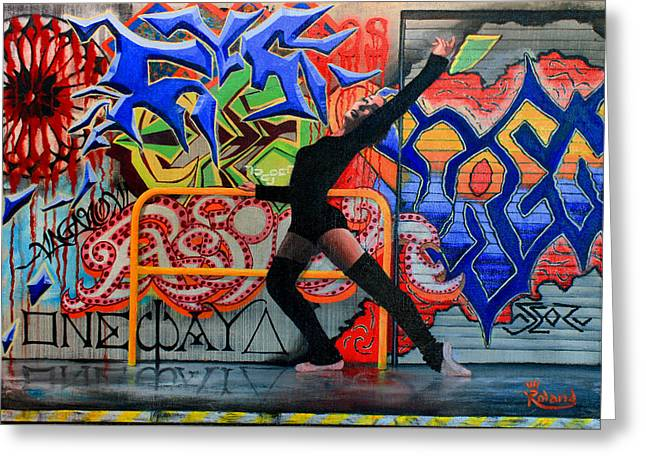 One Way Up Dancer Greeting Card by Tracy Dupuis Roland