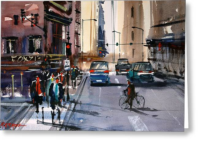 People Paintings Greeting Cards - One Way Street - Chicago Greeting Card by Ryan Radke