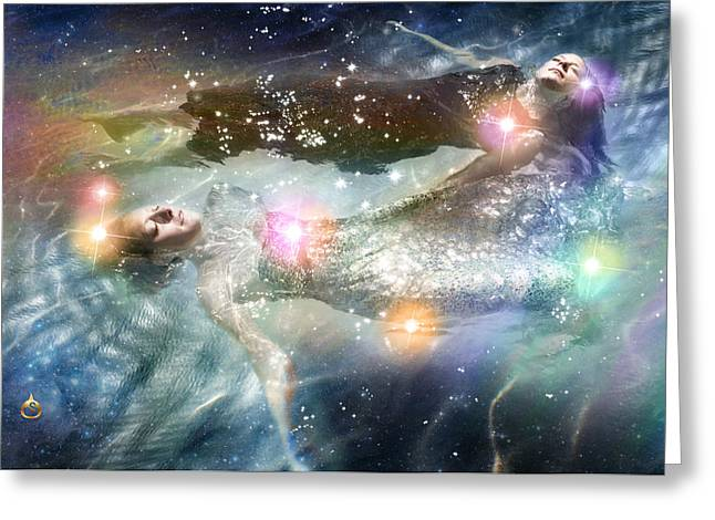Floating Girl Greeting Cards - One Way To Pleiades Greeting Card by Sonya Shannon