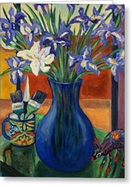 Irises Ceramics Greeting Cards - One White Iris Greeting Card by Carol Keiser