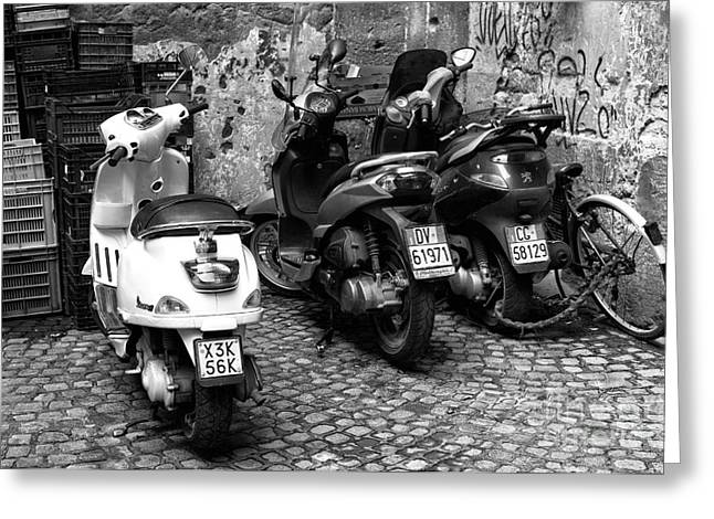 Old Street Greeting Cards - One White Scooter Greeting Card by John Rizzuto