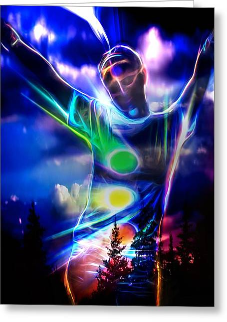 Person Greeting Cards - One With The Universe Greeting Card by Pennie  McCracken