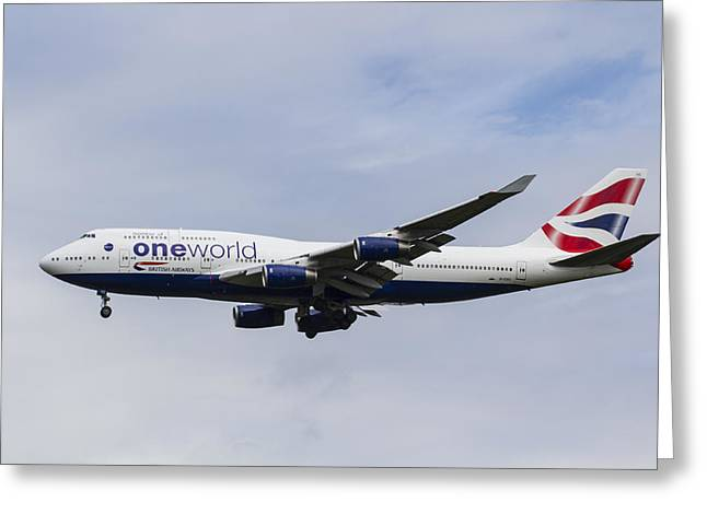 Airways Greeting Cards - One World Boeing 747 Greeting Card by David Pyatt