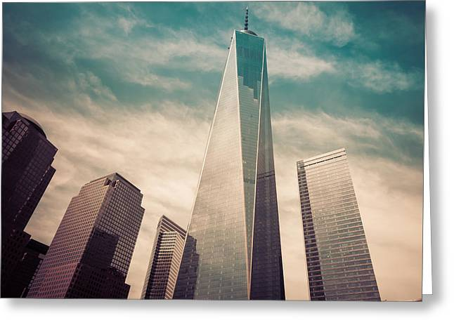 The Twin Towers Of The World Trade Center Greeting Cards - One World Trade Center New York City Greeting Card by Robert Bellomy