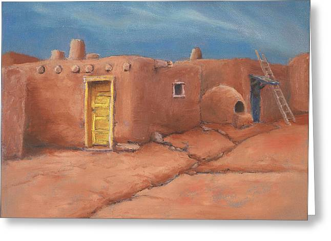 Taos Paintings Greeting Cards - One Yellow Door Greeting Card by Jerry McElroy