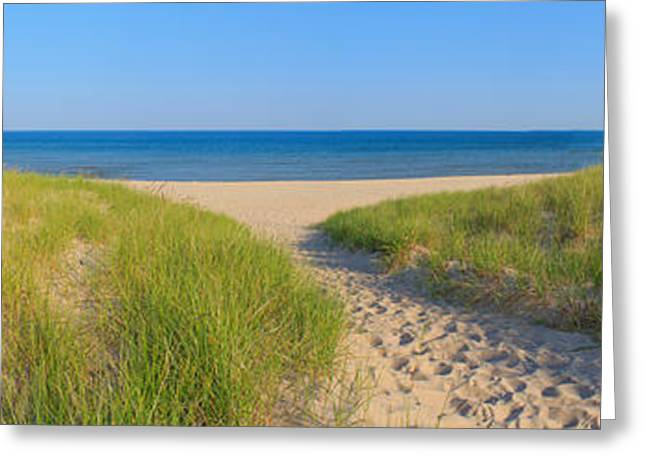 Portage Photographs Greeting Cards - Onekama Michigan Beach Greeting Card by Twenty Two North Photography