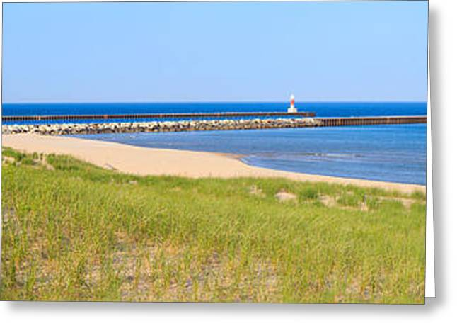 Portage Photographs Greeting Cards - Onekama Michigan Panorama Greeting Card by Twenty Two North Photography