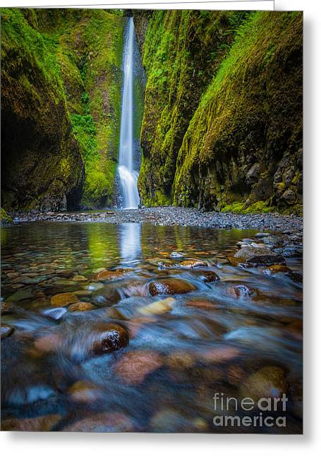Flowing Greeting Cards - Oneonta Cascades Greeting Card by Inge Johnsson