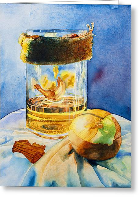 Glass Reflecting Paintings Greeting Cards - Onion and Burlap Greeting Card by Corin Newton
