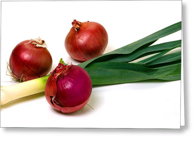 Onion And Leek Greeting Card by Olivier Le Queinec
