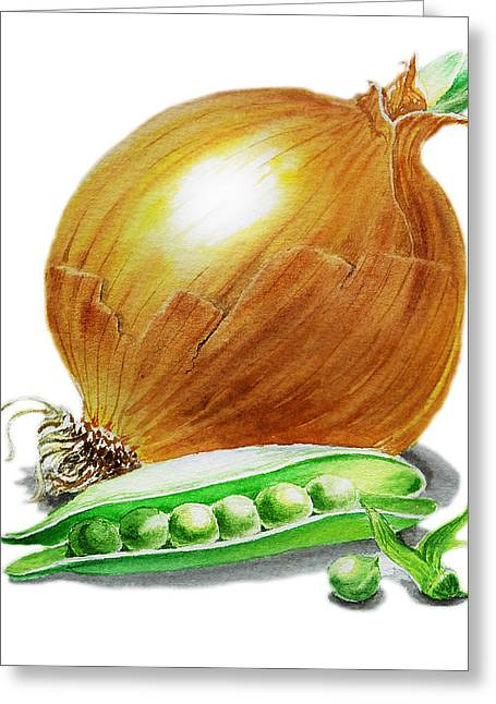 Vegetables Paintings Greeting Cards - Onion and Peas Greeting Card by Irina Sztukowski