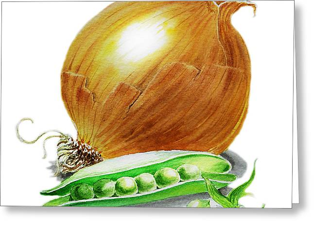 Onion And Peas Greeting Card by Irina Sztukowski