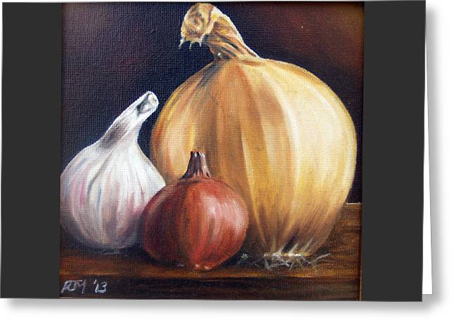 Table Greeting Cards - Onion, Garlic and shallot Greeting Card by Richard Mountford