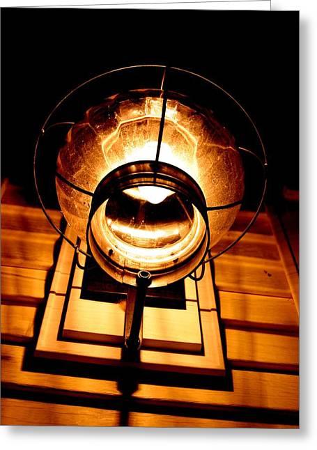 Onion Lamp At Night Greeting Card by Robert Morin