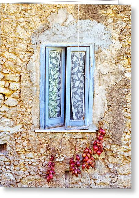 Silvia Ganora Greeting Cards - Onions and garlic on window Greeting Card by Silvia Ganora