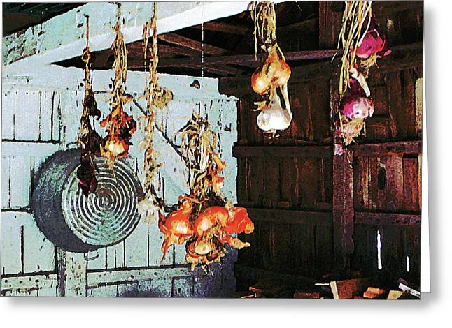 Kitchen Greeting Cards - Onions Greeting Card by Susan Savad
