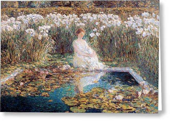 Woman In A Dress Greeting Cards - Lilies Greeting Card by Childe Hassam
