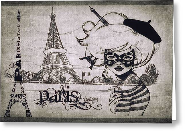 Europe Mixed Media Greeting Cards - Ooh La La BW Greeting Card by Todd and candice Dailey
