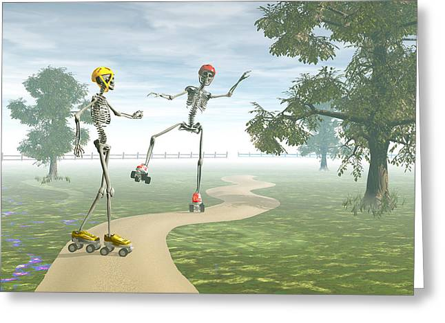 Roller Skates Digital Art Greeting Cards - Ooops   Greeting Card by Carol and Mike Werner
