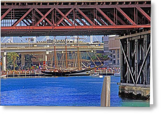 Darling Harbour Greeting Cards - Oosterschelde Under A Bridge Greeting Card by Miroslava Jurcik