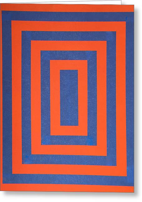 Abstract Geometric Greeting Cards - Op 2 Blue and Orange Greeting Card by James Pinkerton