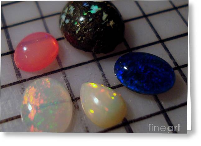 Opal Cabochons Greeting Card by Neon Flash