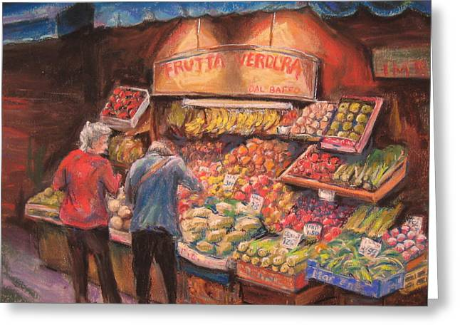 Italian Shopping Paintings Greeting Cards - Open air Market  Bologna Greeting Card by Sam Pearson