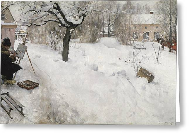 Open Air Painter Greeting Card by Carl Larsson