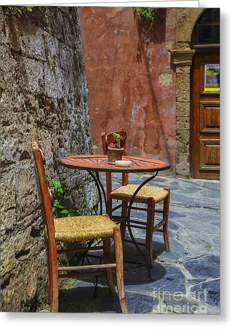 Empty Chairs Greeting Cards - Open air terrace Greeting Card by Patricia Hofmeester