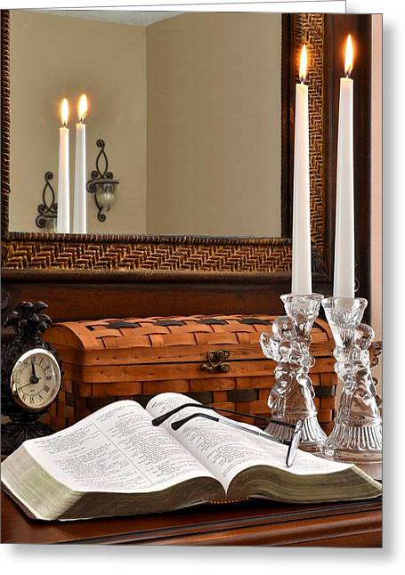 Pages Of Life Photographs Greeting Cards - Open Bible with Candles - 1 Greeting Card by James Fowler