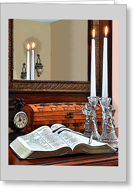 Angels Breath Greeting Cards - Open Bible with Candles Greeting Card by James Fowler