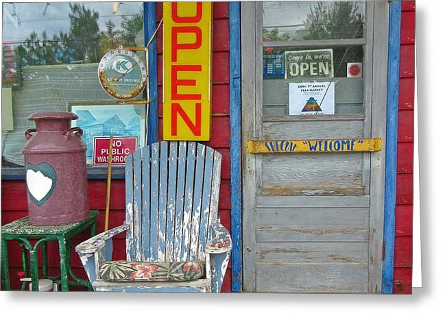 Store Fronts Greeting Cards - Open Greeting Card by Crystal Loppie