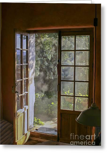 Screen Doors Greeting Cards - Open door with sunligh Greeting Card by Patricia Hofmeester